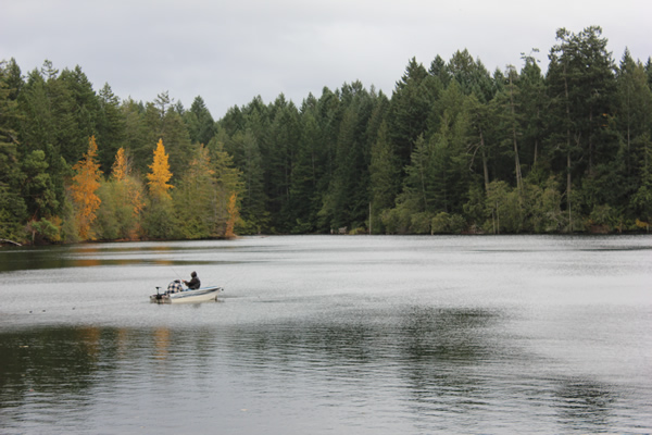 Fishing at Durrance Lake in the Fall. Saanich, Victoria BC.