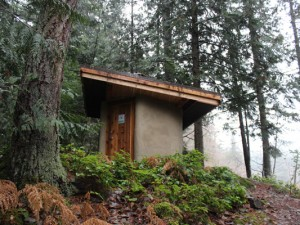 The composting toilet at Eagles Lake in the Highlands near Victoria, BC.