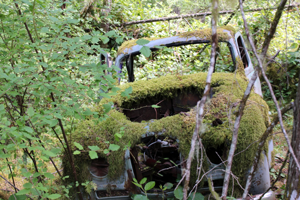 Abandoned car on Corry Road near Fork Lake in the Highlands, Victoria, BC.