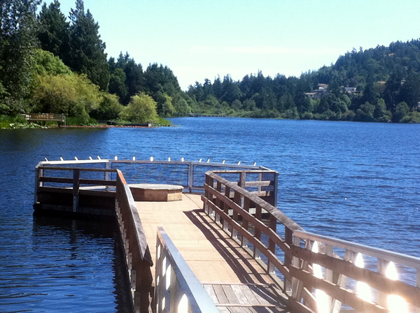 Fishing pier at Glen Lake in Langford near Victoria, BC
