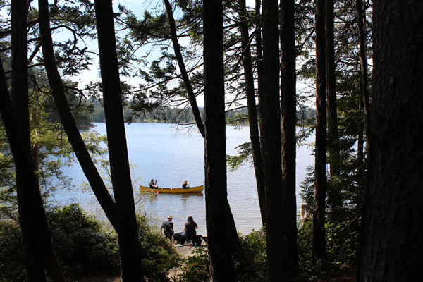 Paddling at Kemp Lake in Sooke BC. Photograph by Adam Ungstad