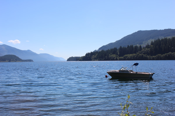 Boating on Cowichan Lake.  Photograph by Adam Ungstad.