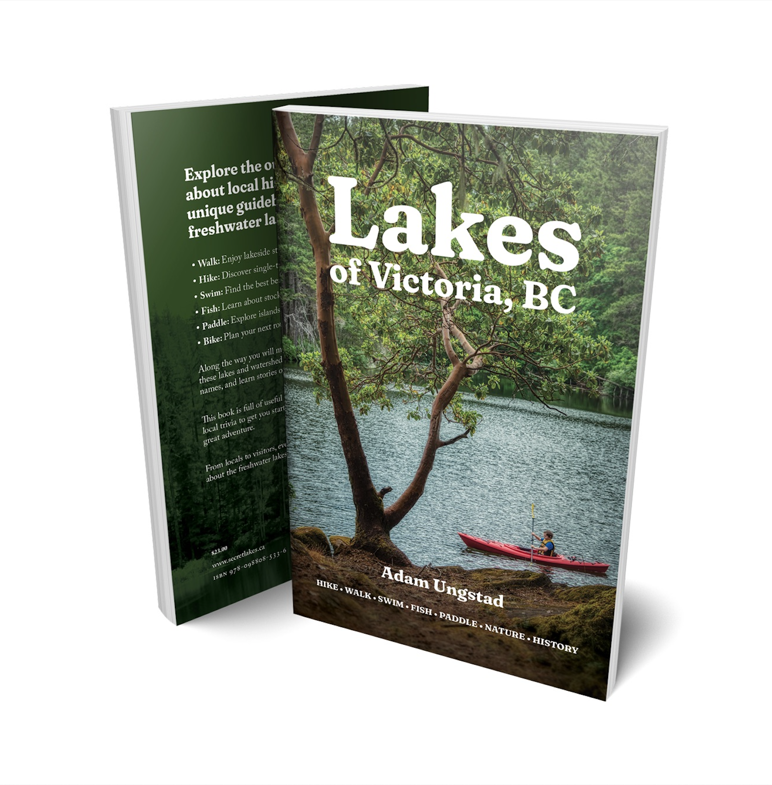 A mockup showing the front and back covers of the Lakes of Victoria, BC guidebook.