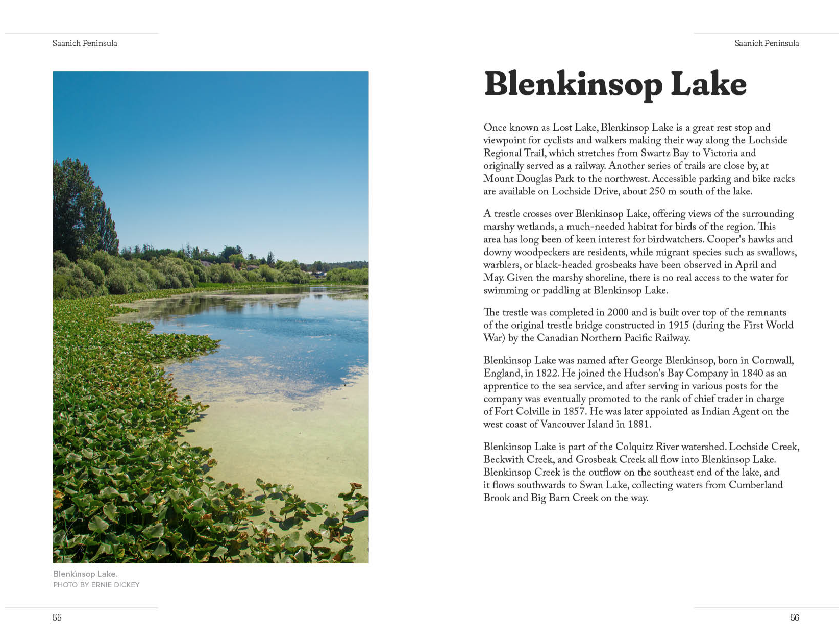 Spread showing pages for Blenkinsop Lake.