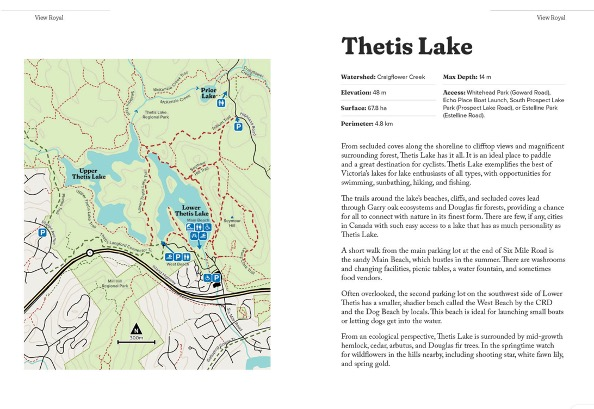 Two pages showing a trail map and reference information for Thetis Lake.